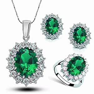 Stayeal 2018 The Most Popular Women Princess Blue Sapphire Pendant Necklace Earrings Ring Set
