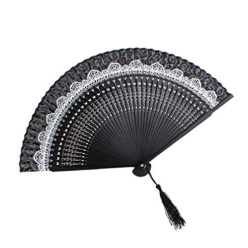 WANG 2pcs Women Floral Hand Fan Chinese Style Butterfly Bone Foldable Fan Cosplay Silk Bamboo Case Classic Lace Handheld Fan Colorful,2pcs -