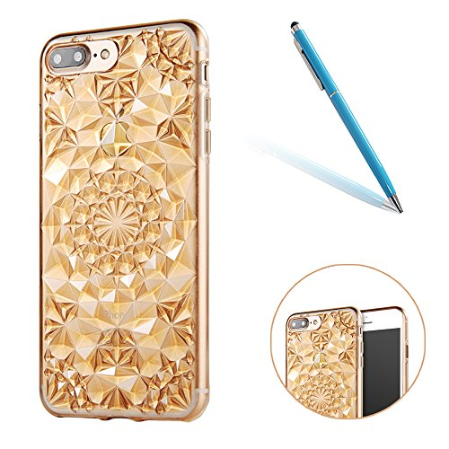 Plating Rubber Case Protettivo Skin per Apple iPhone 7Plus 5.5(NON iPhone 7 4.7), CLTPY Moda Shiny Brillantini Glitter Sparkle Lustro Oro Progettare Protezione Ultra Sottile Leggero Cover per iPhone Oro
