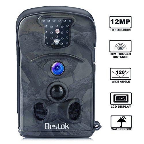 """Bestok Wildkamera Fotofalle Full HD 12MP 120° Breite Jagdkamera Vision Infrarote 20m Nachtsicht Wasserdichte Gartenkamera 2.4\"""" LCD Überwachungskamera (8210A)"""