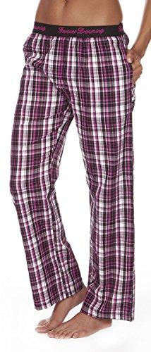 Schlafanzugshorts mit Jacquard-Bund für Damen von Forever Dreaming Gr. L, schwarz / pink (Pyjama Bottoms, Schwarz)