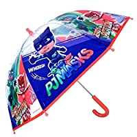 PJ MASKS Transparent Blue Kids Umbrella - Bubble Stick Umbrella for Boys with Catboy Owlette Gekko - Windproof and Resistant Dome Brolly with Safety Opening - Children 5 to 7 Years Old - Perletti
