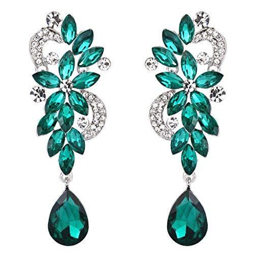 Clearine Women's Bohemian Boho Crystal Flower Wedding Bridal Chandelier Teardrop Bling Dangle Earrings 63d15K