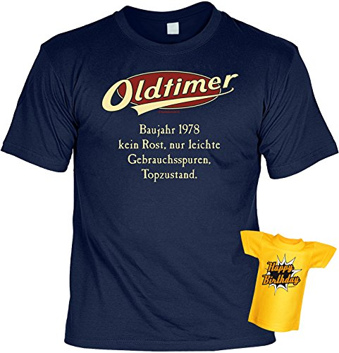 T-Shirt 40.Geburtstag Geschenkset - Geschenk-Idee Geburtstag 40 Mann/Frau : Baujahr 1978-40 Jahre - 40 Jahre Tshirt + Mini T-Shirt Für Flaschen Gr: XL Farbe: Navy-Blau