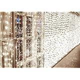 Lichtketting met 600 leds, 6 m x 3 m, IDESION, 8 bedrijfsmodi, LED-lichtgordijn voor interieur, slaapkamer, bruiloft, Kerstmis, party (koud wit)