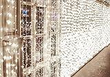 600 LEDs Rideaux Lumineux 6m*3m IDESION Guirlande 8 Modes de Fonctionnement Lumière de Rideau pour Décoration Intérieur Extérieur Chambre Mariage Noël Soirée Fête Halloween Saint-Valentin Blanc Froid