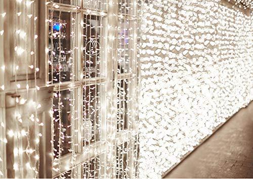 600 LEDs Lichterkette 6m * 3m IDESION 8 Betriebsarten LED Lichtervorhang für Innenausstattung Außenbereich Schlafzimmer Hochzeit Weihnachten Party (Kaltweiß)