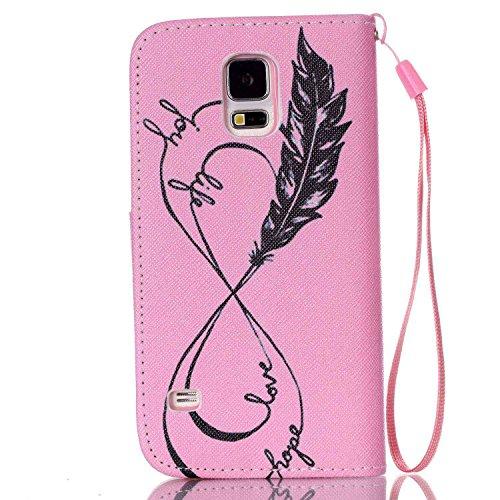 Portefeuille Etui pour Samsung Galaxy S5 Mini, Coffeetreehouse PU Lanyard Cuir Flip Housse Étui Cover Case Wallet Portefeuille Supporter avec Carte de Crédit Fentes pour Samsung Galaxy S5 Mini - YB-F22