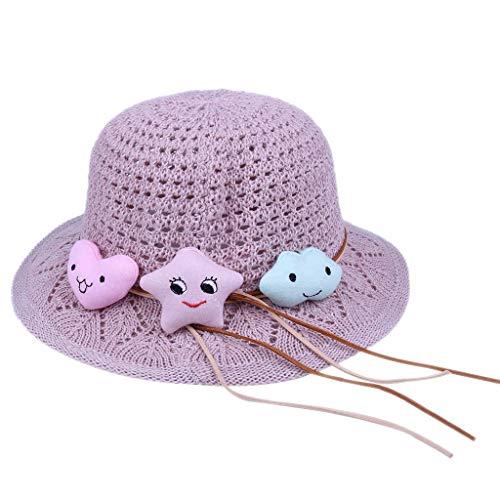jfhrfged Kinder Hut weiblichen Sommer hohl niedlichen kleinen Stern Baumwolle Strickmütze (Lila) (Mädchen Lila Fedora)