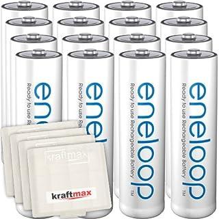 Kraftmax 16er-Pack Panasonic Eneloop AA / Mignon Akkus - Neueste Generation - Hochleistungs Akku Batterien in Kraftmax Akkuboxen V5, 16er Pack