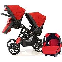 Carro gemelar diferentes edades. 2 sillas + 1 portabebé grupo 0. BBtwin, rojo