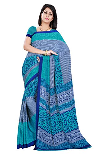 Triveni Crepe Saree With Blouse Piece (Tsrd1497_Blue_Free Size)