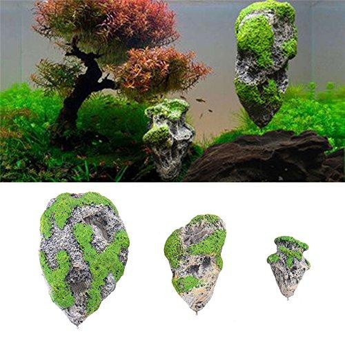 owikar Aquarium Decor Fish Tank Schwimmende Rocks Suspended Stein mit Moos bedeckt Ornament Künstliche Dekoration Supplies 8,9cm/13,5cm/17,8cm Höhe