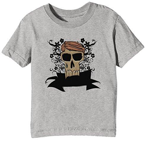 Haare Youth T-shirt (Schreienschädel mit dem Haar Kinder Unisex Jungen Mädchen T-Shirt Rundhals Grau Kurzarm Größe XL Kids Boys Girls Grey X-Large Size XL)
