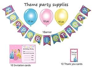 Easycraftz Disney Princess Theme Girls Birthday Banner + Invitation +Thank You Card+ Assorted Metallic Balloons Party Kit (Pink)