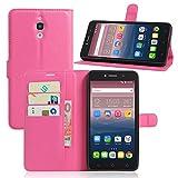 Alcatel Onetouch Pixi 4 8050D (3G) 6.0 Zoll Hülle,PU Leder Flip Case im Book-Style [Slim Fit] Ledertasche Handyhülle[mit Standfunktion und Kartenfach] für Alcatel Pixi 4 (Spezielle für 3G-Version)Sand-Rose