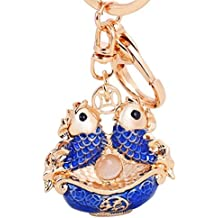MZP Corea regalos creativos encantadores delicada goteo hembra Piscis llave del coche de la joyería colgante del bolso de la cadena dominante del anillo , red pisces 3102