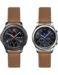 Deportes francés piel con bordado de color blanco: marrón de repuesto correa de reloj–correa de reloj para Samsung Gear S3. Fabricado en Francia