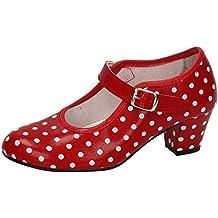 MADE IN SPAIN Zapato Baile sevillanas Flamenco Lunares Blancos Para Niña o Mujer Danka EN Rojo T1551 Talla 40 9gyyhFezE