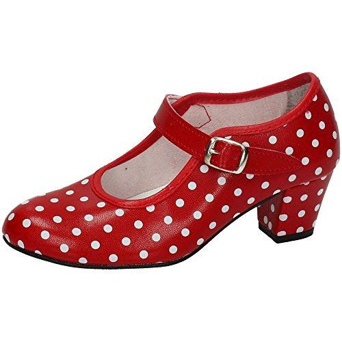 MADE IN SPAIN 17 SEVILLANAS FLAMENCOS NIÑA Zapatos TACÓN Rojo 22