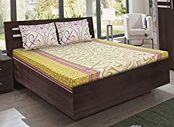 Bombay Dyeing double bedsheet with 2 pillow covers-Ambrosia-Yellow