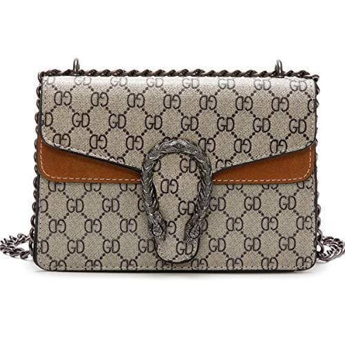 liyuan Kette kleine quadratische Tasche Mode gedruckt Umhängetasche Tigerkopf Messenger Bag Mini Kette Tasche exquisite Urlaub Geschenk (22x15x9cm, Brown)