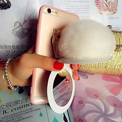 Coque iPhone 6/6s , iNenk® TPU souple Transparent luxe affaire téléphone Shell protecteur miroir lapin fourrure Ball couverture Mode créatif pour femmes-bleu Blanc