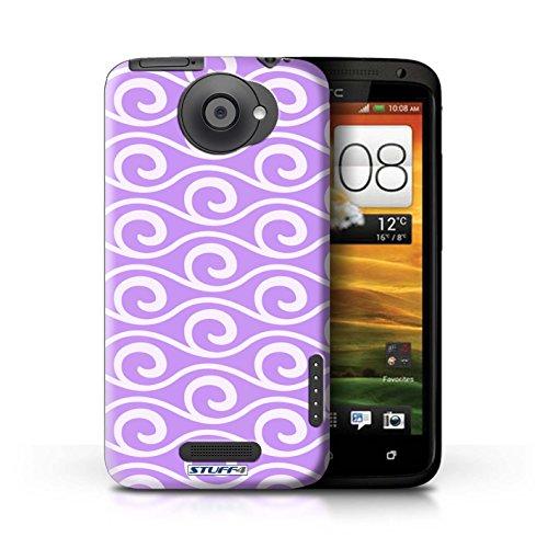 Kobalt® Imprimé Etui / Coque pour HTC One X / Rose conception / Série Motif ondes chic Violet