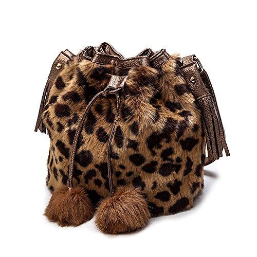 FavoMode Elegant Kunstfell Frauen Handtasche Schultertaschen Henkeltaschen Shopper Damen Tasche HoBo Beuteltasche (Leopard)