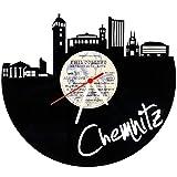 GRAVURZEILE Skyline Chemnitz Wanduhr aus Vinyl Schallplattenuhr Upcycling Design-Uhr Wand-Deko Vintage-Uhr Wand-Dekoration Retro-Uhr Made in Germany