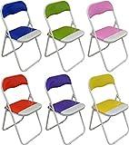 Klappstühle - gepolstert - In Blau, Grün, Rosa, Lila, Rot und Gelb - 6 Stück