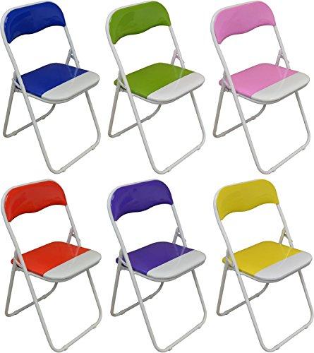 Set von 6 gepolsterte Klappstühle Blau, Grün, Rosa, Lila, Rot und Gelb - Ideal für, Büro, Schreibtisch, Poker, Ersatz-/ Zusatzsitz
