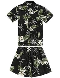 Chico Camisa Hawaiana o Conjunto de cabaña en Verde Palma en Negro