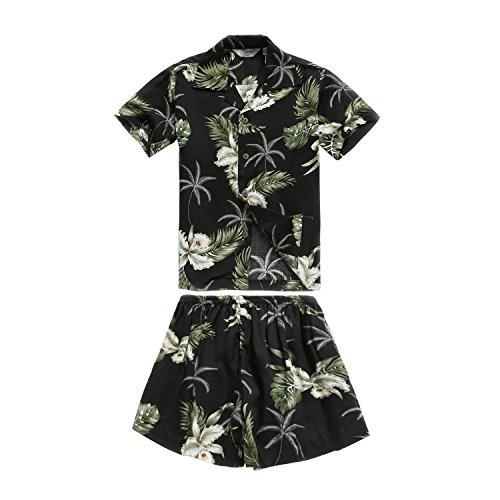 Chico-Camisa-hawaiana-y-Shorts-Cabana-Set-en-Palm-Green-en-Negro-Tamao-6