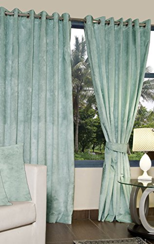 ACASA designed Velvet Door Curtains (Set of 2 WITH 2 Cushion Cover)- 6 Feet x 3.5 Feet in S.BLUE