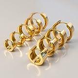 Fly Style Klapp Creolen 5 mm breit Edelstahl Ohrringe silber | schwarz | gold earst008_5mm, Farbwahl:gold, Durchmesser:18 mm