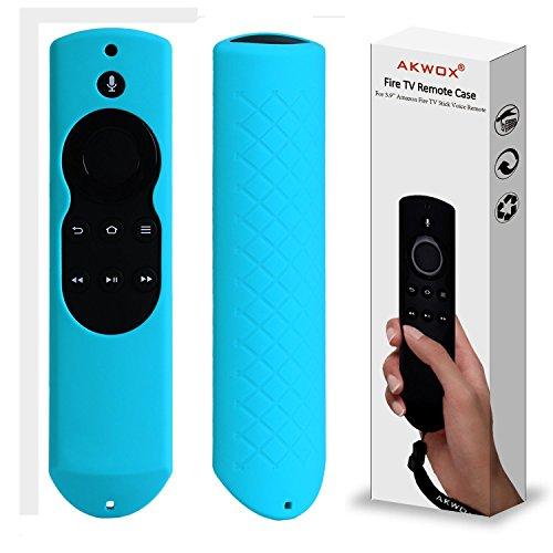 Schutzhülle für Fire TV Stick mit Alexa-Sprachfernbedienung (5.9 inch), Akwox Stoßfest Silicone Hülle für Fire TV Stick Voice Remote Blau