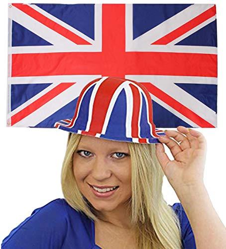 ILOVEFANCYDRESS England Dekoration KOSTÜM VERKLEIDUNG =MIT+OHNE ZUBEHÖR=Fussball Sport LÄNDER ABMESSUNGEN VON 152cmX91cm=Flagge +Plastik Melone -