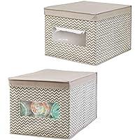mDesign Juego de 2 cajas organizadoras para el cuarto de los niños - Organizadores para armarios con diseño de espiga - Caja para organizar juguetes, pañales o artículos de bebé - topo/natural