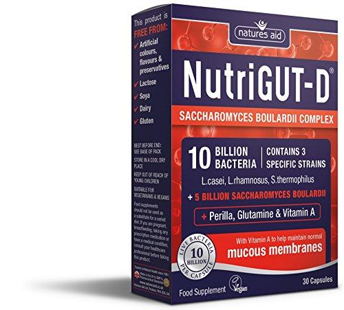 Natures Aid NutriGUT-D 10 Billion Bacteria Saccharomyces Boulardii 30 Capsules