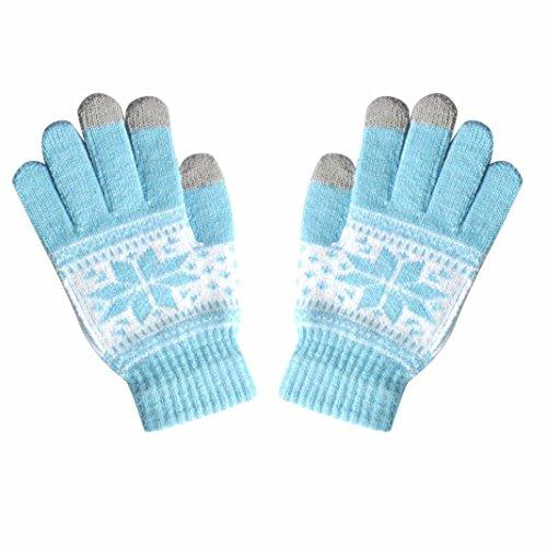 TUDUZ Damen Frauen Thermo Strick-Handschuhe TUDUZ Winter Texting Cap Aktive Smartphone Stricken Weichen Bildschirm Handschuhe (Hellblau)