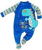 Lily & Jack - Baby Jungen Strampler Schlafanzug aus Nicki Dino Gr. 56/62 (0/3M)