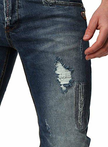 Y-Two Herren Destroyed Jeans RENNES mit Ziernähten Slim Fit Vintage Look leicht verwaschen Dunkelblau