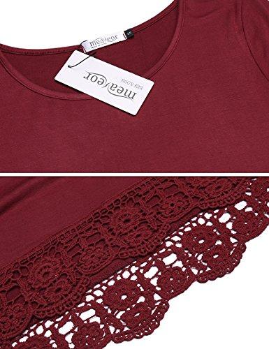 Parabler Damen Sommer T-Shirt Kurzarm Tops mit Floral Spitze Spitzenshirt Bluse Hemd Shirt Tunika Rot