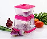 #9: Onion Chopper Cutter for Kitchen - Veg Chopper - Easy & Quick Chopping - Non-slip Container - Extra Sharp High Grade Steel Blades - Made of Virgin Plastic - Poly-Carbonate Unbreakable Body - Stainless Steel Handle - Wide Base for Extra Grip - Container for Storage - PROUDLY MAKE IN INDIA