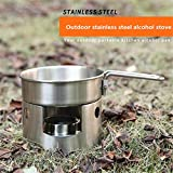 RONSHIN Portable Stainless Steel Round Windscreen Stove Solid Alcohol Burner
