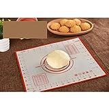 Jasnyfall Silikon Backmatte Pizza Teig Maker Gebäck Küchenhelfer Kochutensilien Utensilien Backformen Kneten Zubehör rot 60X80