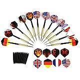 GWHOLE 12 pz Punta Freccette con Voli Bandiera Nazionale, Extra 16 Voli e 12 Gambi Inclusi