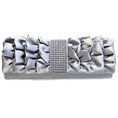 Ruffle-Borsa da signora fashion in argento con diamante, con scritta: evening clutch bag