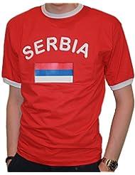 BRUBAKER Herren oder Damen Serbien Fan T-Shirt Rot Gr. S - XXXL